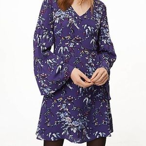 LOFT Lavender Frosted Branch Bell Sleeve Dress